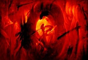 """Lampo Leong: Corona III • Oil & mixed media on canvas, 30"""" x 44"""", 2011"""