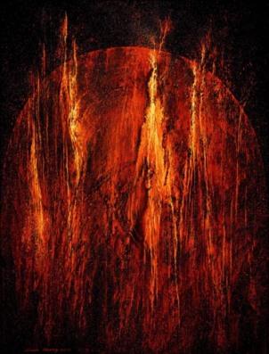 """Lampo Leong: Perihelion I • Acrylic & mixed media on canvas, 42""""x32"""", 2011"""